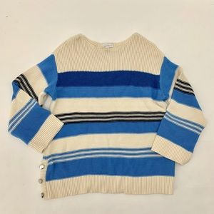 Women's Boatneck Navy Striped Sweater Small NEW